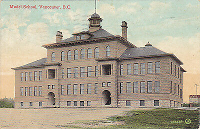 Model School, Vancouver, BC. Valentine & Sons Publishing 1907-1923. 1908 Cancel