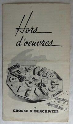 Vintage Cross & Blackwell Hors D'oeuvres Recipe Card             (Inv13509)