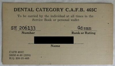 1956 Canadian Forces Dental Card              (Inv13513)