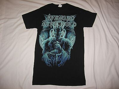 Avenged Sevenfold Women's Black Teal Blue Graphic Shirt Size S
