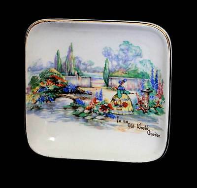 Vintage Lancaster Sandland In An Old World Garden Crinoline lady square pin dish