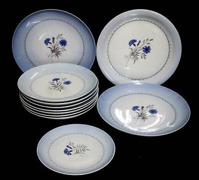 Vintage Bing & Grondahl & Royal Copenhagen blue cornflower dinner set 11 plates