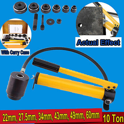 10 Ton 22-60mm Hydraulic Knockout Punch Kit Hand Pump 6 Dies Tool Hydra