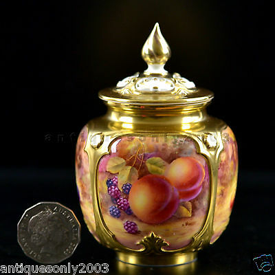 ROYAL WORCESTER Fruit Hand Painted Porcelain Pot Pourri Vase J. SKERRETT SIGNED
