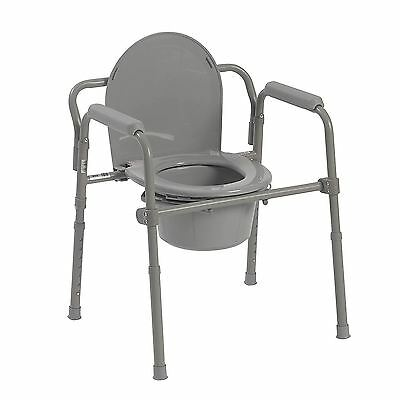 Folding Bedside Medical Toilet Commode Steel Safety Seat Chair Padded Portable