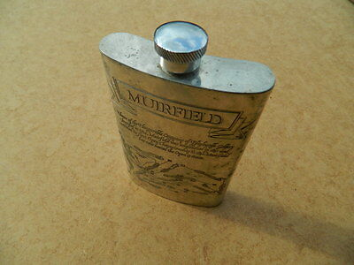Muirfield (Scotland) Engraved Pewter Hip Flask Sheffield Marked Se -The Open -
