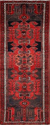 "Excellent Geometric Tribal Runner 4x10 Hamadan Persian Oriental Rug 9' 6"" x 3' 8"