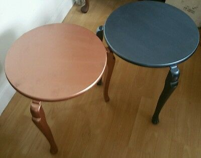 Metallic Paint Over 2 Vintage Mid Century Modern Round Stacking Tables