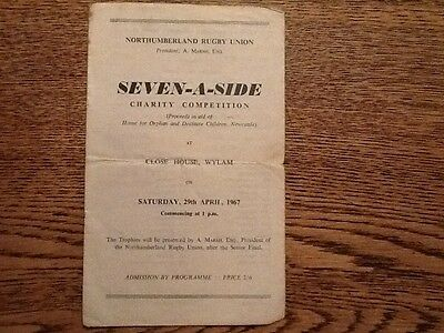 Seven a side Charity Competition Northumberland Rugby Union 1967 Programme