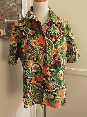 Vintage 60's 70's Polyester Floral Top Blouse MOD Groovy Psychedelic Sz L XL