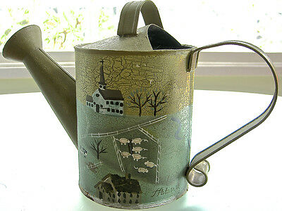 Galvanized Steel Watering Can with Hand-Painted Country Scene Signed