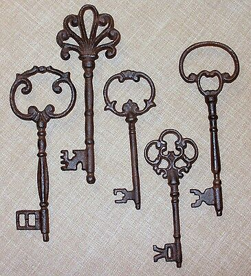 Set 5 Large Ornate Cast Iron Antique-Style Skeleton Keys Jailer Victorian