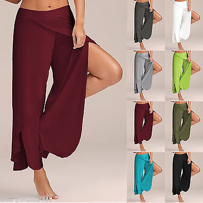 Women Slit Flared Palazzo Trousers Wide Leg High Long Loose Yoga Harem Pants