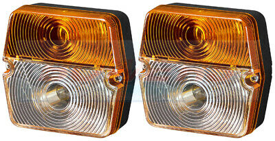 Pair Of Square Front Indicator Flasher Side Lights Position Lamps For Tractor
