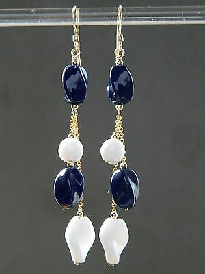 Vintage Navy Blue & White Milk Glass Beads & 14ct Rolled Gold Long Drop Earrings