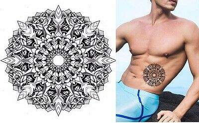 Circle Black White Leafs Roses Temporary Tattoo Waterproof 3d Body Art  Adults