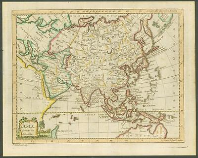 "1770 Original Antique Map ""ASIA"" by T KITCHIN Hand coloured - China Russia Japan"