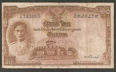 1948 ( ND ) Thailand  Ten  10  Baht    P 71b  Sign.# 28  Banknote  FINE