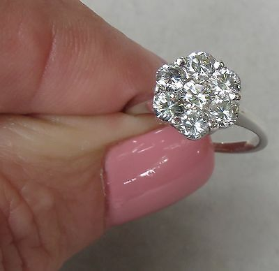 Antique Daisy 1.00CT. Diamond 14K White Gold Fn 925 Silver Cluster Style Ring