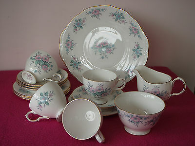 Colclough Coppelia 15 Piece Bone China Tea Set In Pink & Blue / Weddings / Party