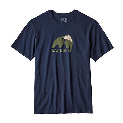 Patagonia, Eat Local Upstream Cotton T-Shirt ( M's), navy blue