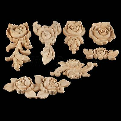 Multi Type Wood Carved Corner Onlay Applique Decal Rose Unpainted European Style