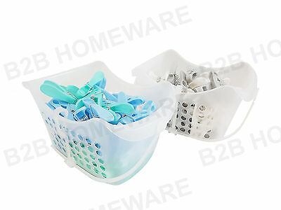 50 Jumbo Plastic Clothes Pegs Washing Airer Line Hanging Basket Box Storage Bag