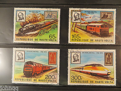 Upper Volta Stamps 501-504, Rowland Hill Locomotives, NH, SCV $3