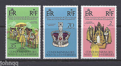 New Hebrides, French Stamps  #233-235, Reign of Queen Elizabeth II MNH SCV $2.5