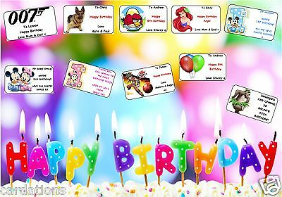 21 or 16 PERSONALISED birthday gift labels stickers tags present party bags
