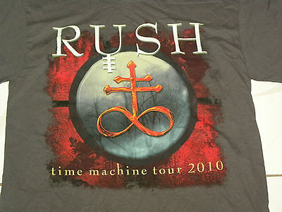 RUSH Official 2010 TIME MACHINE TOUR Dates Men's T-Shirt Size Medium Gray