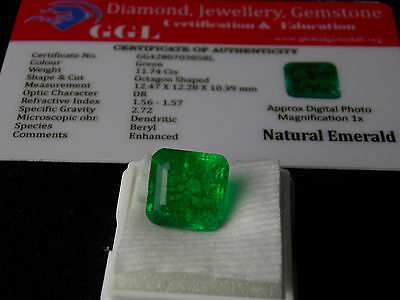 11.74 ct. Natural Certified Square Shape Colombian Emerald Loose Gemstone