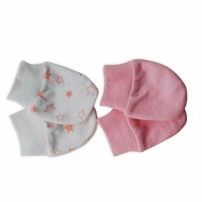 2 x Pairs Of Baby Mittens 100% Cotton (FS273)