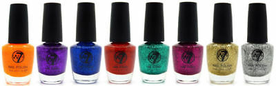 W7 Dazzle Nail Polish - Choose From 8 Colours - Varnish Sparkle Shiny Glitter