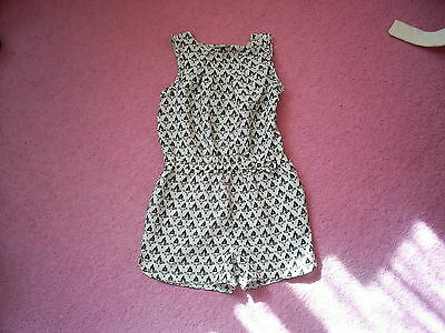 "Girls ""Next"" Smart Cream/Black Geometric Print Playsuit for Age 6 years"