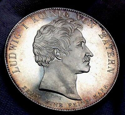 Germany Ludwig Bayern Silver Thaler 1835 Beautiful Unc!!!!