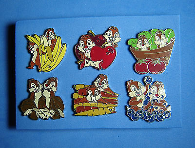 Chip and Dale Health Food Complete Set of 6 DLR Hidden Mickey Disney Pin