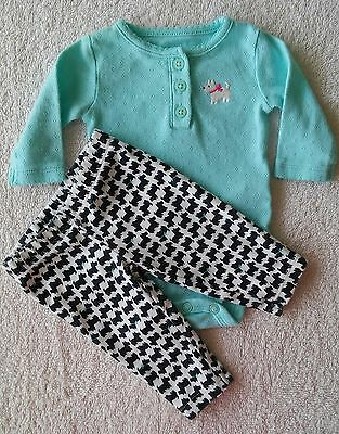 CARTERS 2pc NEWBORN Scottie Dog Set For Reborn Or Baby Girl