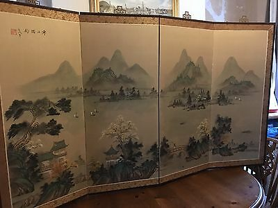 Japanese Chinese Oriental Room Divider Dressing Screen Wall Hanging