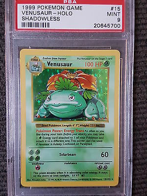 MINT PSA 9 Shadowless Venusaur Holo Rare 15/102 Pokemon Card Base Set