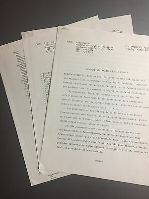 1981 Porsche 924 Porsche+Audi Press Release, Pressemappe RARE!! Awesome L@@K
