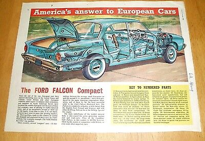 Ford Falcon Compact  Motor Car   Superb Cutaway  Drawing  21/10/1961