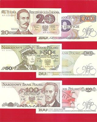 POLAND - 20 50 100 zloty - 1980s Set of 3 AU/Uncirculated