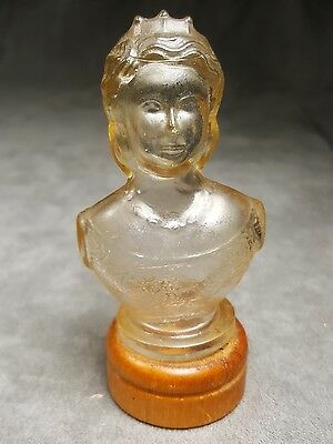 vintage Clear Glass Candy Container Queen Elizabeth Bust - v2v