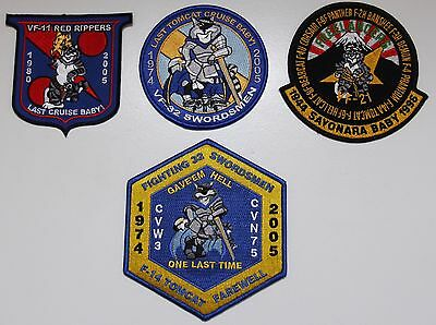 F-14 Tomcat Last Cruise 4 Patch Lot - Vf-32 Swordsmen / Vf-11 Redrippers / Vf-21