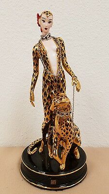 House of Erte LEOPARD Porcelain Art Deco Figurine Franklin Mint #B6978