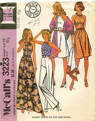 1970's VTG McCall's Misses' Dress or Top Pattern 3223 Size 10 UNCUT