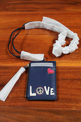 LAST 1 NWT Tory Burch Peace Lanyard Coin Strap Zip Card ID Case Wallet Key Case
