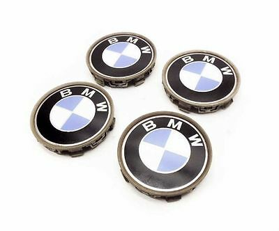 04 BMW 325ci E46 WHEEL HUB CENTER CAP COVER SET (4) BLUE/WHITE LOGO EMBLEM