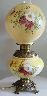Antique Victorian Gone with the Wind oil lamp converted to electric Hand Painted